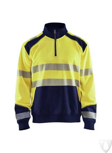 3556 Blåkläder Sweatshirt Halve Rits High Vis