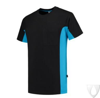 PROB - Tricorp T-shirt Bicolor + Borstzak zw/turq 102002