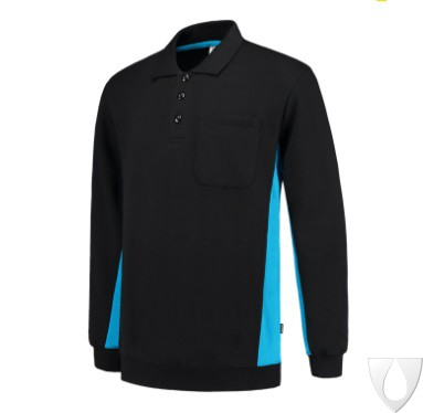 PROB - Tricorp Polosweater Bicolor zw/turq 402002